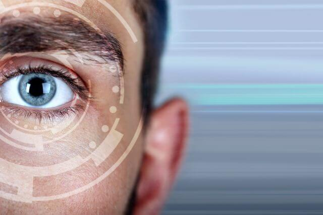 Close-up of man's eye, Ad for LASIK