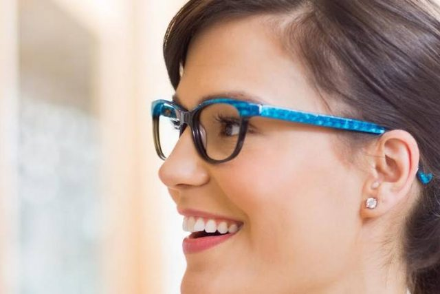 Woman happy with her eyeglasses