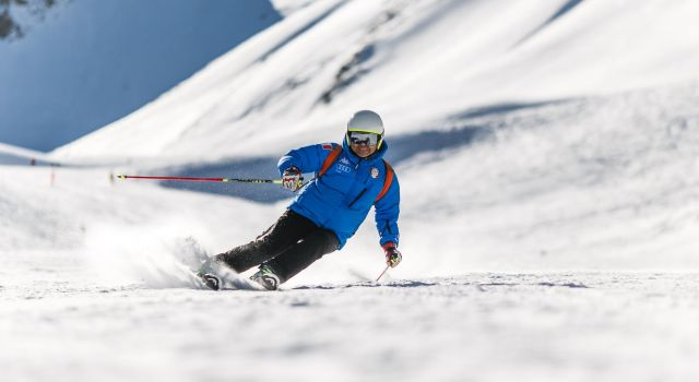skiing with protective goggles