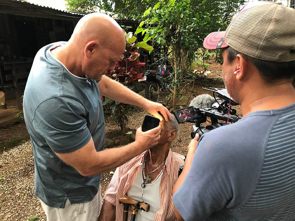 7 Examining the eyes of Pablo Carrillo 99. In Nicoya Costa Rica