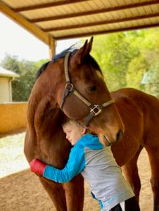 Boy Hugging a Horse