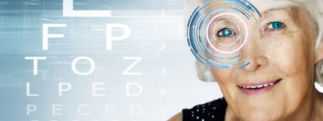 senior woman posing for ad, Cataract Surgery