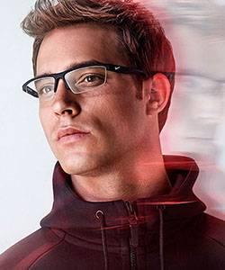 Model wearing Superflex glasses