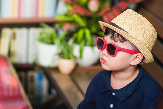 Eye doctor, boy wearing a sunglasses in New Holland, Pennsylvania