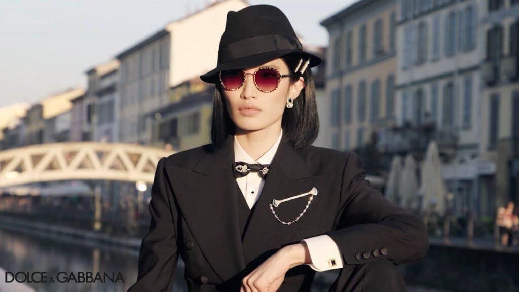 Woman wearing Dolce & Gabbana sunglasses