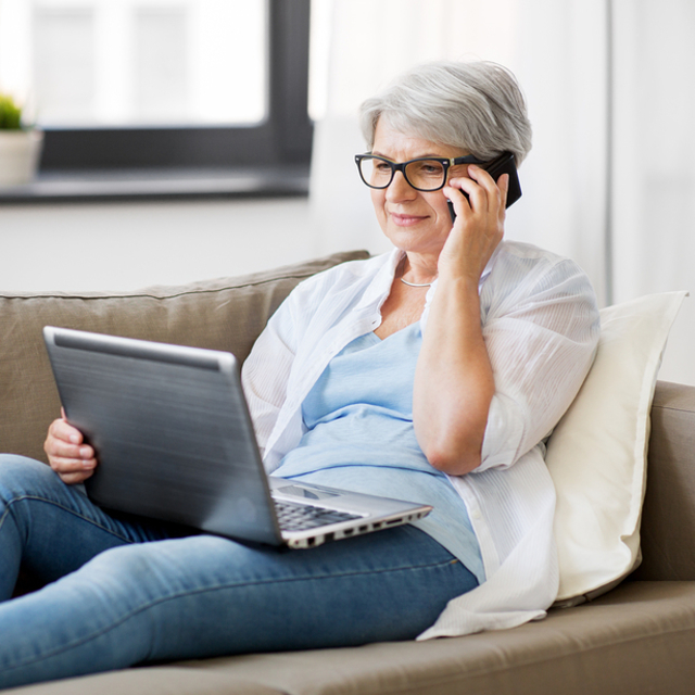 technology, old age and people concept   happy senior woman in g