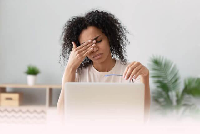 Upset Stressed Black Woman Massaging Temples Feeling Pain Terrib