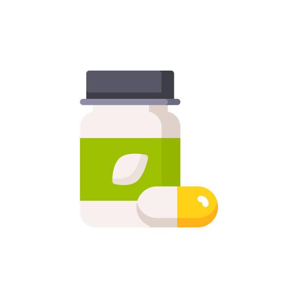 Supplements, Vitamins Flat Icon.