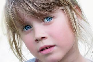 blue eyed shy girl
