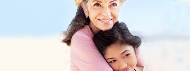 Eye doctor, senior woman with her granddaughter in Lee's Summit, Missouri