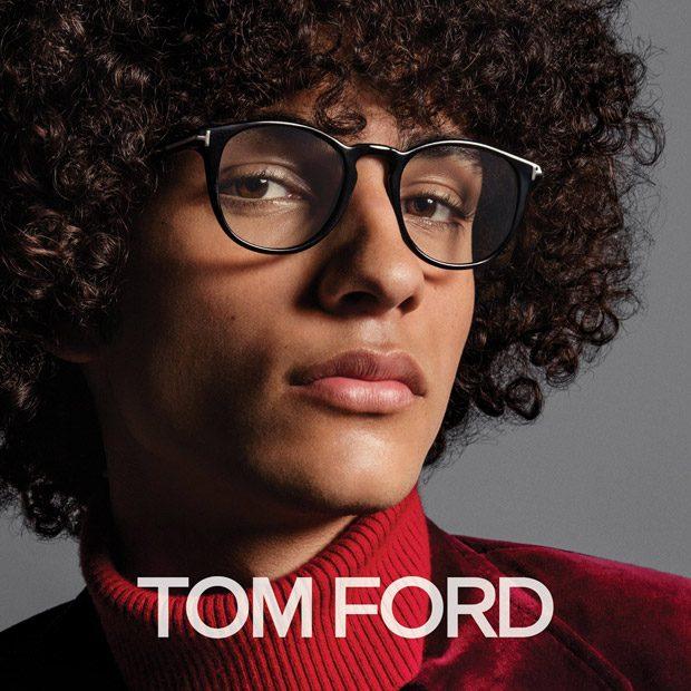 Man wearing Tom Ford designer eyeglasses