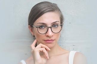 woman wearing glasses stylish