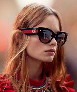 Model wearing Dolce  Gabbana eyeglasses