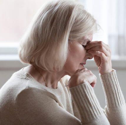 Fatigued Upset Older Woman Massaging Nose Bridge Feeling Eye Str
