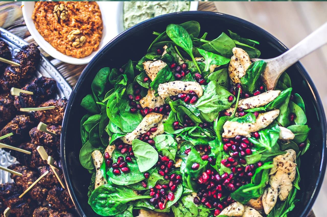 food nutrition spinach chicken salad 1280×853