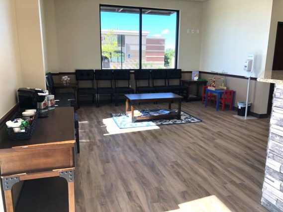 The waiting room in our new eye care clinic in Commerce City, CO
