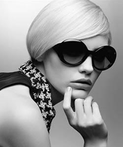 Model wearing Chanel sunglasses