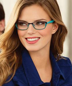 Model wearing Kliik eyeglasses