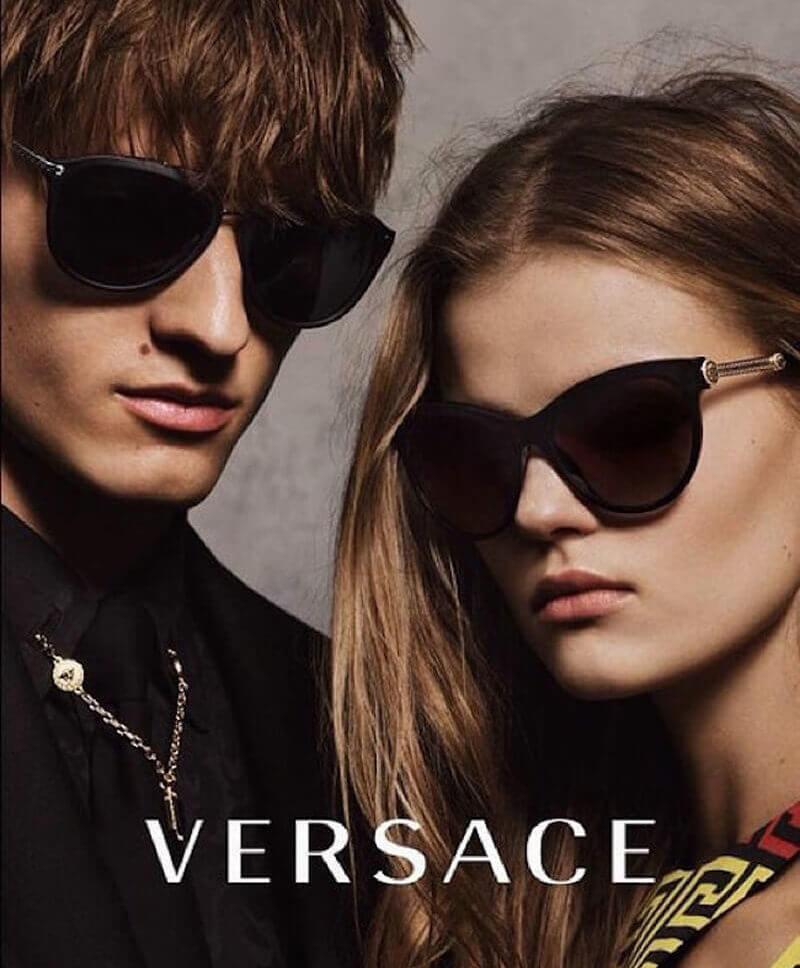 Model wearing Burberry glasses