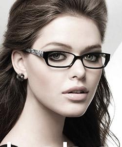 Model wearing Bebe eyeglasses