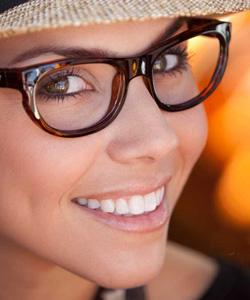 Model wearing Kaenon eyeglasses