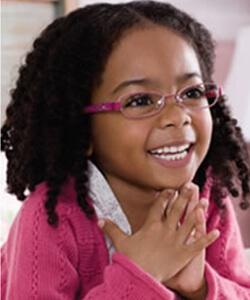Model wearing Disney eyeglasses