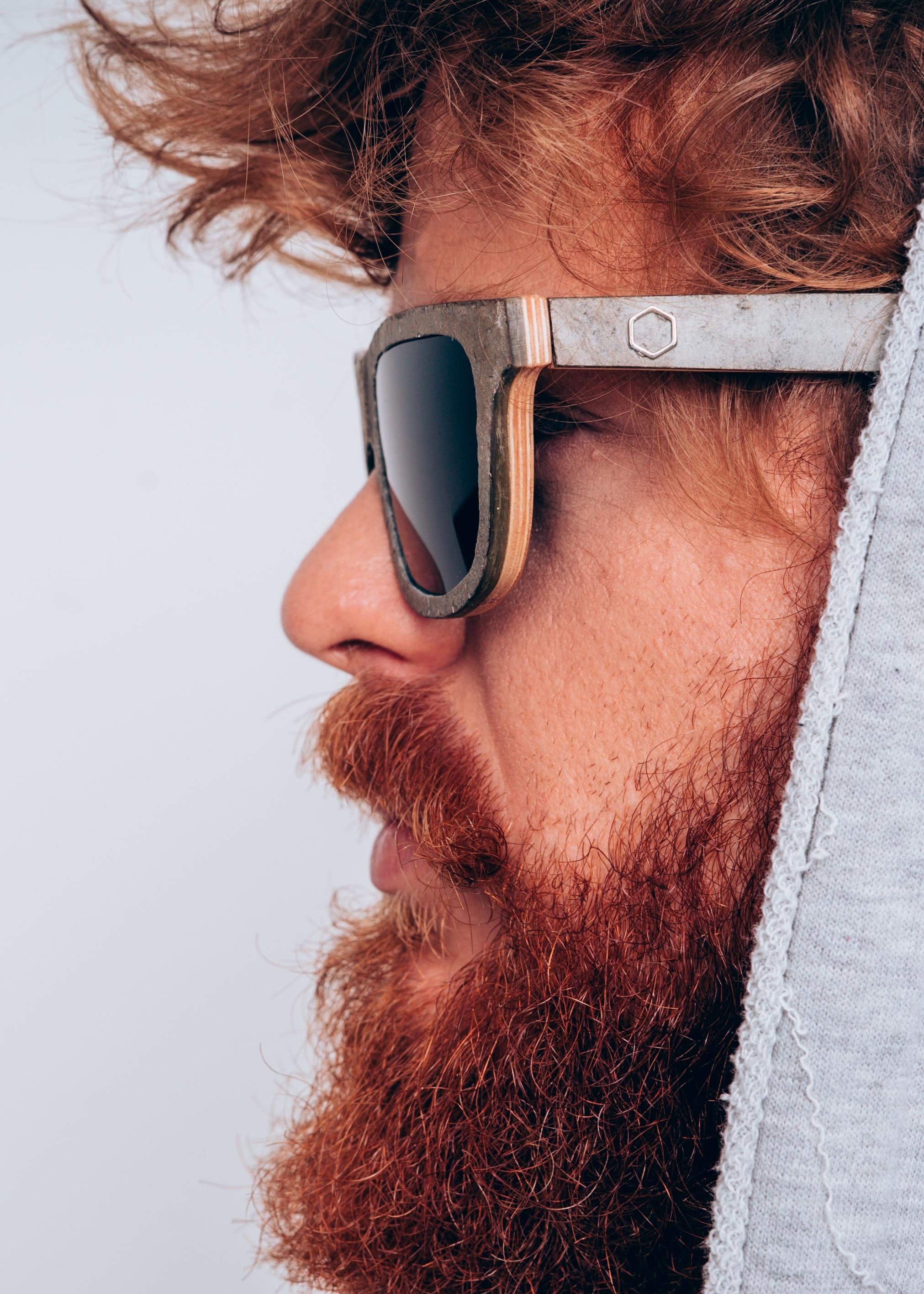 man red beard gray hoodie