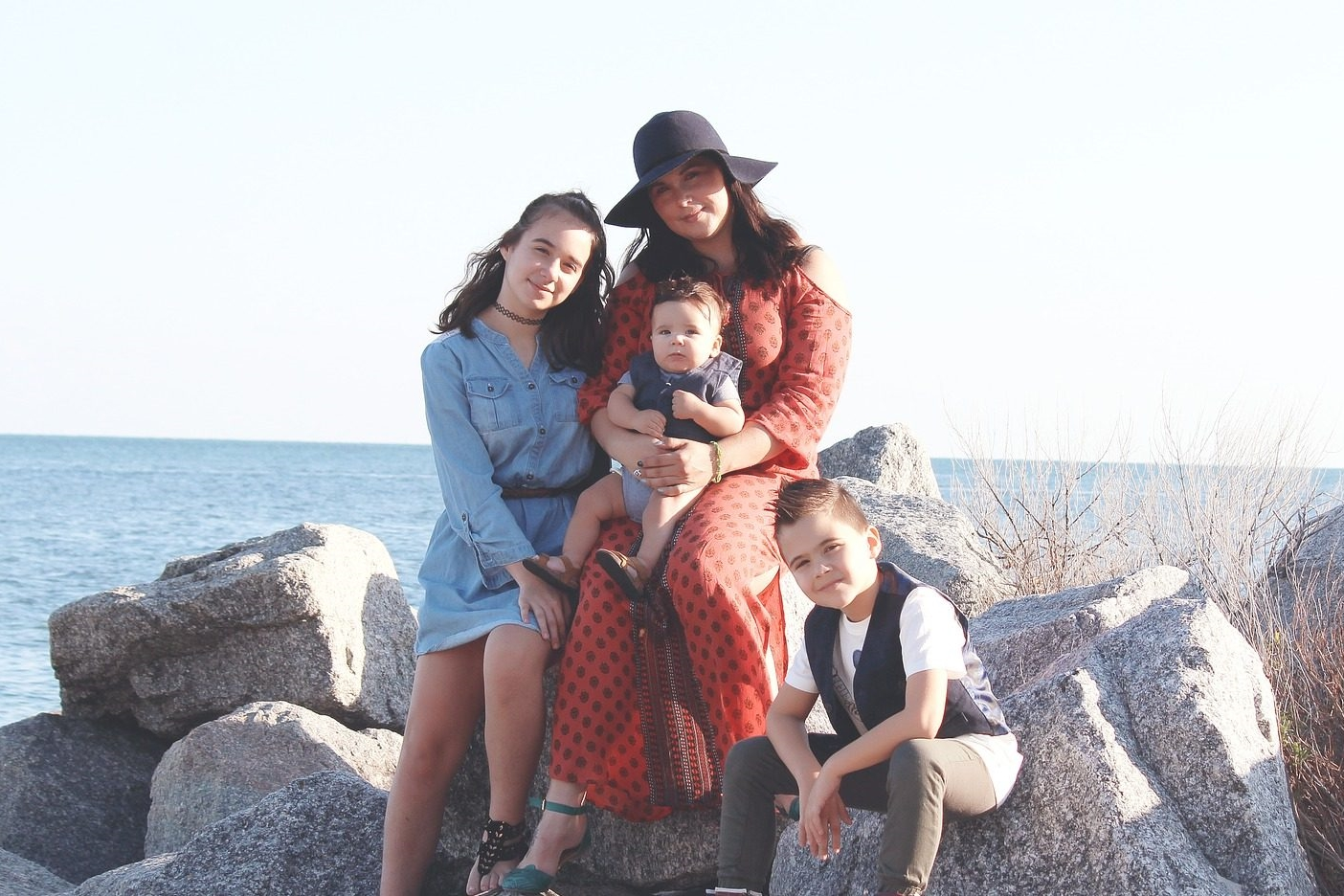 mom children rocks beach