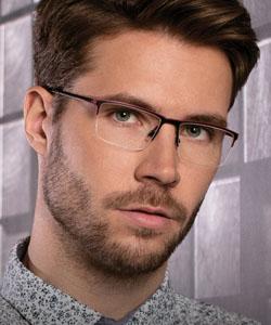 Model wearing Evatik eyeglasses
