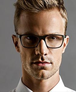 Model wearing Oga eyeglasses