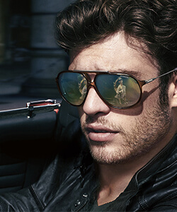 Model wearing Carrera sunglasses