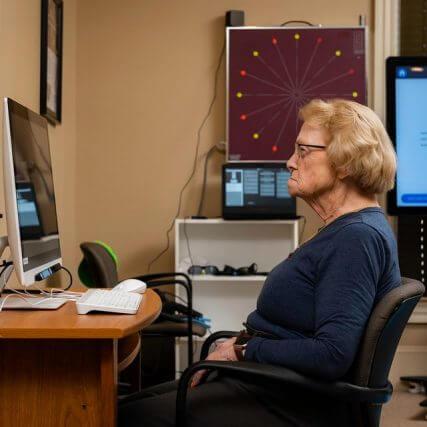 senior woman vision therapy