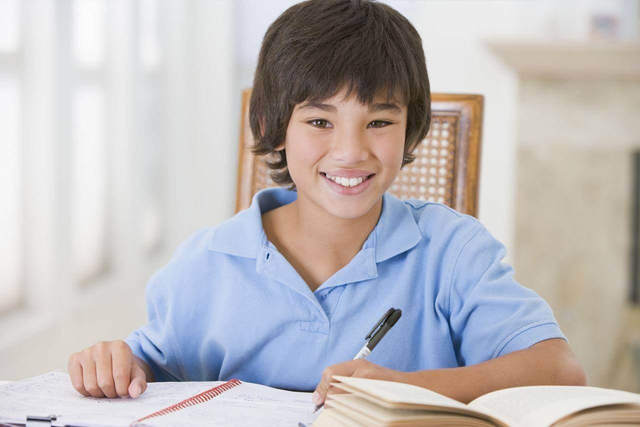 studying reading boy