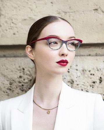 Model wearing Face A Face eyeglasses