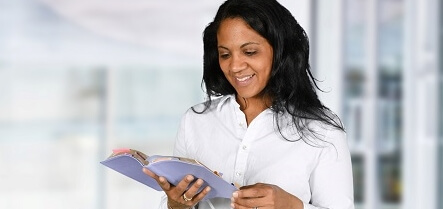 woman studying planner