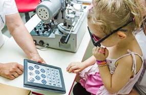 child with eye exam
