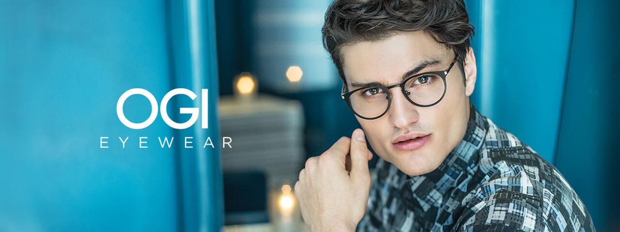 Model wearing OGI Eyeglass Frames