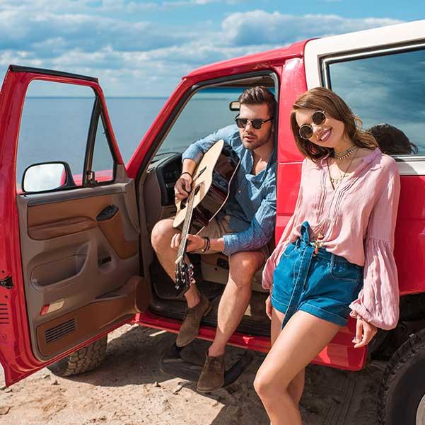 Girl and guy wearing sunglasses in Auburn