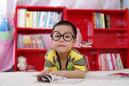 asian child with glasses