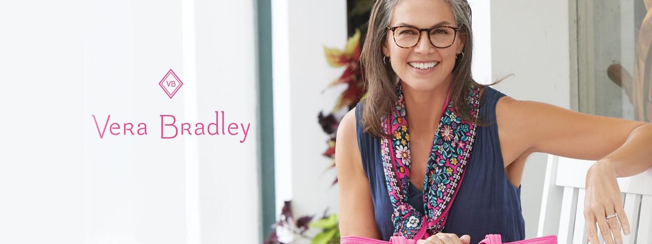 Woman Wearing Vera Bradley Designer Eyeglass Frames