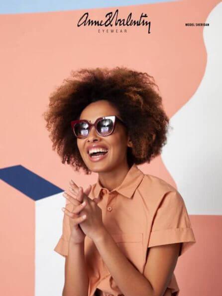 anne valentine black woman sunglasses pink