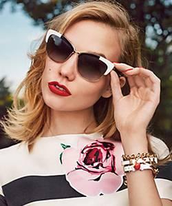 blonde girl red lips wearing KATE SPADE sunglasses