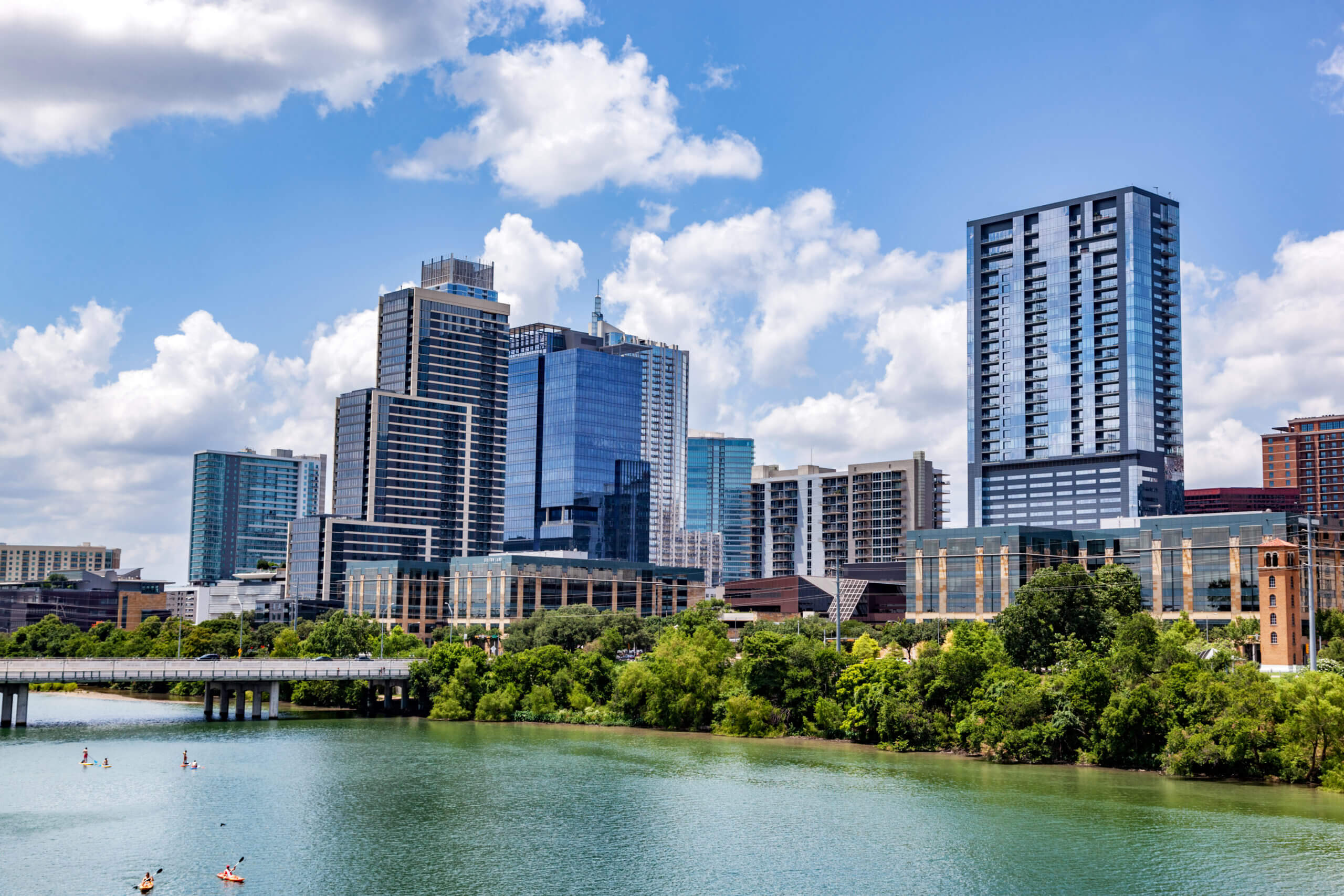 Downtown skyline of Austin, Texas, the USA. Colorado River