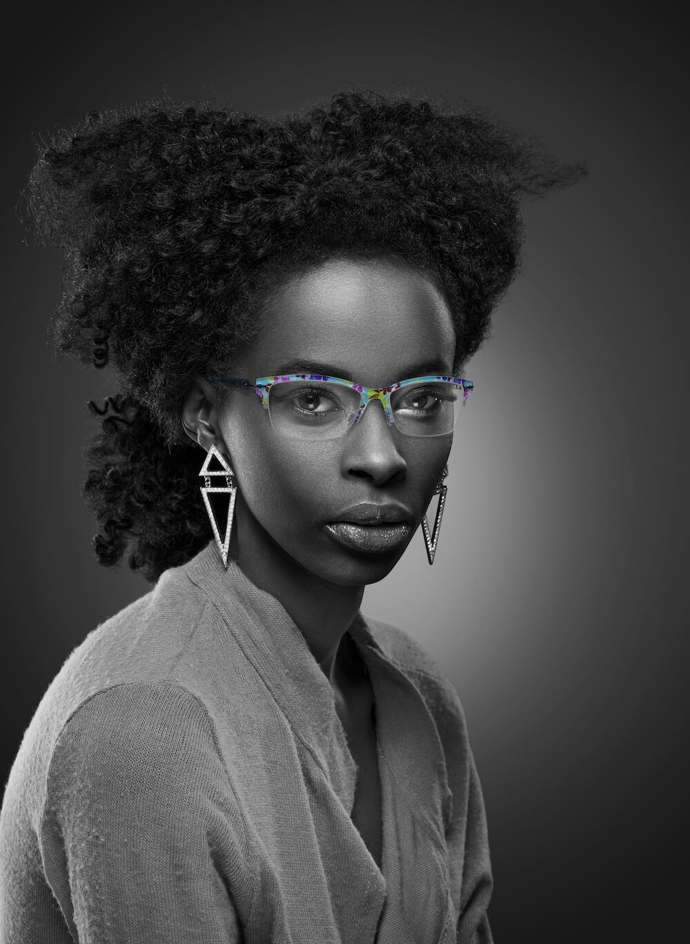 African American Woman Glasses