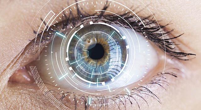 Eye Viewing Digital Information. Eyes Of Technologies In The Fut
