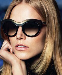 Model wearing Ferragamo sunglasses