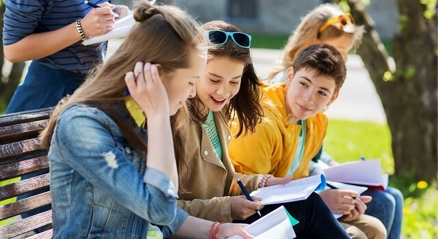 teens studying park bench