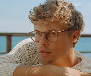 Model wearing Garrett Leight eyeglasses