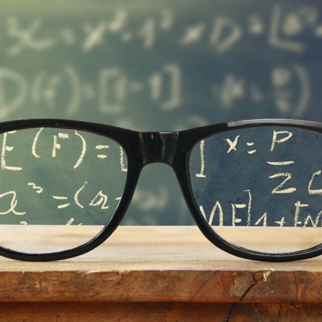 Myopia management eyeglasses chalkboard