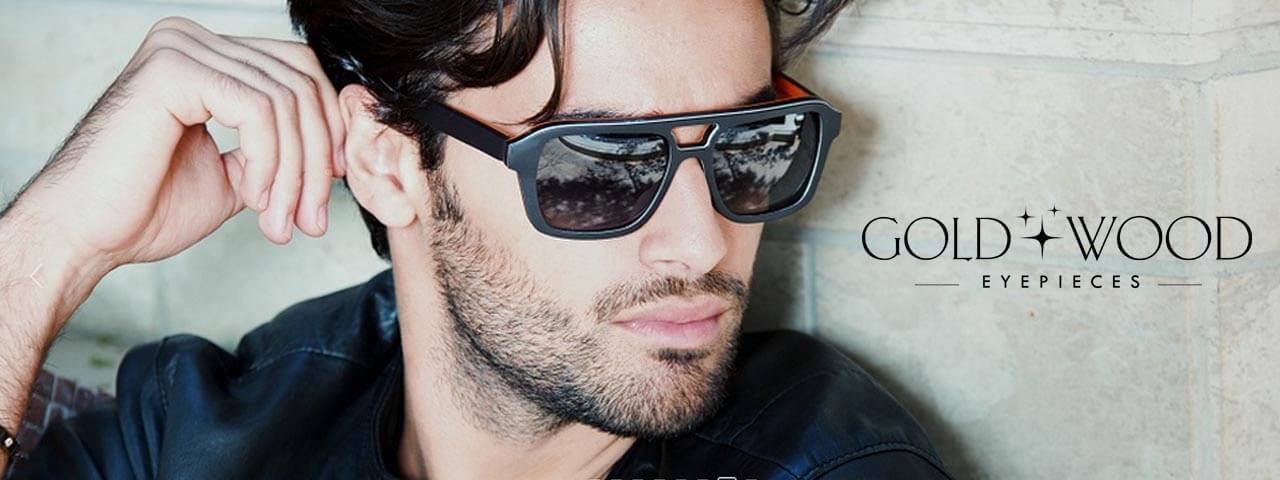 Model wearing Gold & Wood Designer Eyeglass Frames